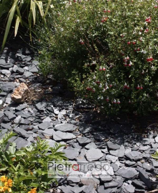 offerta stone gravel decorazione pietra nera ardesia per giardino aiuole prezzo pietrarredo milano giapponese slate crespi bonsai parabiago