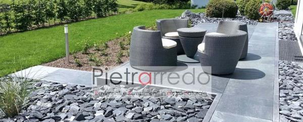 scaglie in ardesia nera per arredo giardino decorazioni aiuole stone garden zen giapponesi crespi bonsai parabiago prezzo pietrarredo milano