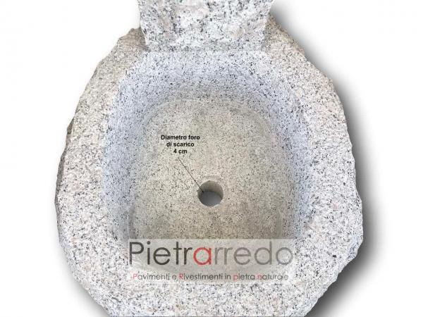 base fontana in pietra granito grigio grey stone garden pietrarredo milano mila costo
