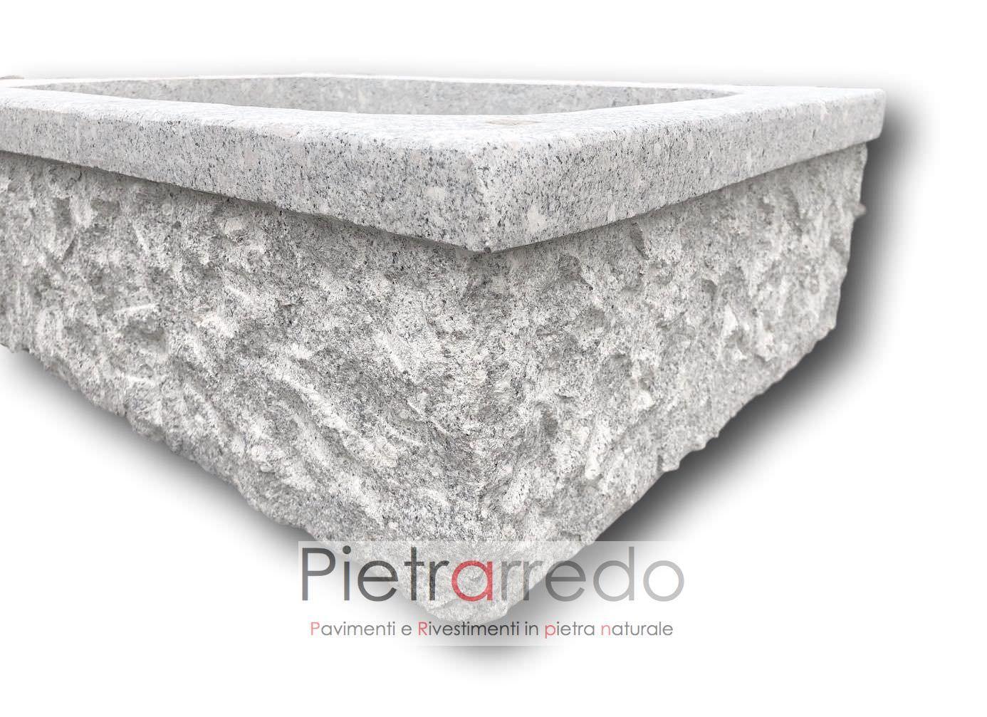 Lavandini Rustici In Pietra lavello-lavabo-lavandino-fioriera in granito scalpellinato a mano,  rettangolare 70cm x 50cm