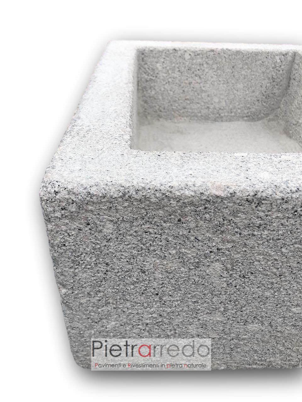 Lavandini Rustici In Pietra lavandino-fioriera in granito bocciardato rettangolare 50cm x 40cm.