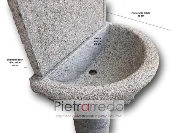 fontana grande da muro in sasso pietra bocciadata fatta a mano con decorazioni uva e foglie impero pietraredo milano costo