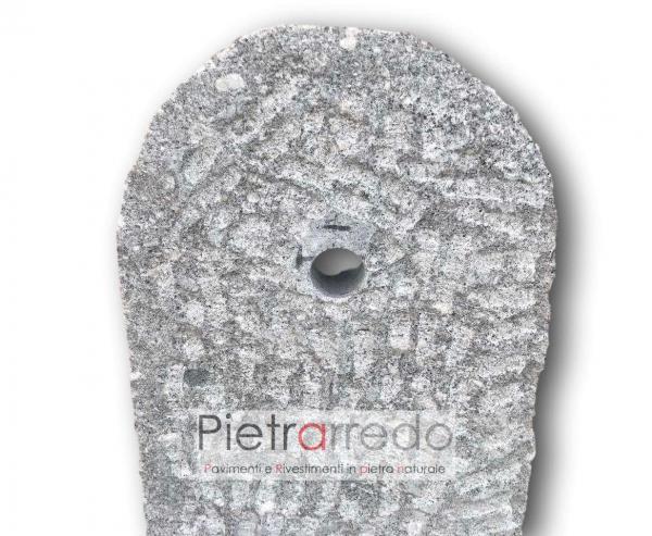 fontanella da terra bellissima elegante in granito fatta a mano beola porfido grigio prezzo bocciardata pietrarredo milano