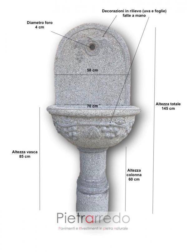 fontanone da poggiae al muro sasso granito grey stone garden impero vasca grande decorata con uva e fiori pietrarredo milano