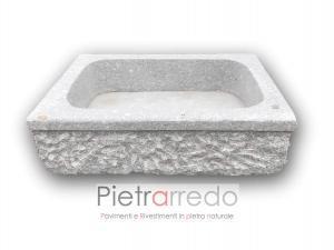 lavandino lavello rustico per baita o zone antiche spa centro benessere pietra granito scalpellinato prezzo pietraredo milano