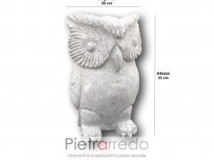 offerta animaletti da giardino gufo civetta pietra granito stone garden deco prezzo pietrarredo milano