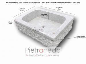 offerta lavandino vasca in pietra granito scalpellinata e lavorata a mano anticata vecchia prezzo pietrarredo milano 70x50 cm costi
