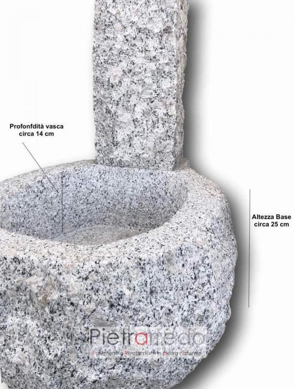 fontana da terra elegante in sasso vero pietra granito grigio prezzo offerta pietrarredo milano costo