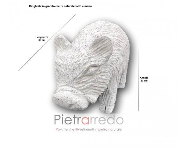 prezzo cinghiale in granito pietra fatto a mano decorato prezzo costo pietrarredo milano