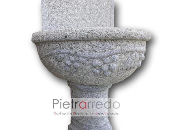 stone garden fontana grey granite granito fatta a mano vasca grande con decorazioni uva offerta