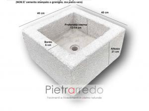 vaschetta per lavandino pietra sasso bocciardato pietrarredo milano costo da esterno rustico con foro scarico