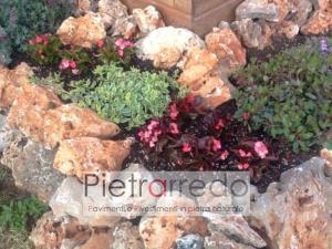Pietre ornamentali da giardino roccioso beige formato grande pietra trani travertino stone city pietraredo milano prezzo costi
