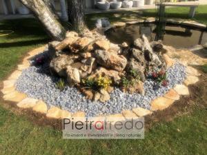 aiuola con pietra ornamentale giardino aiuola prezzo stone garden pietrarredo milano