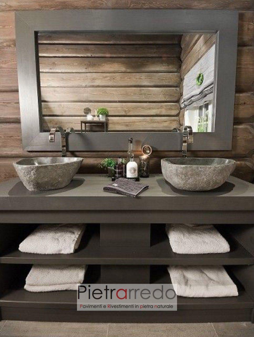 Articoli Per Bagno Milano lavandino in sasso di fiume scavato e fatto a mano per arredo bagno,  diametro da 40 a 50 cm