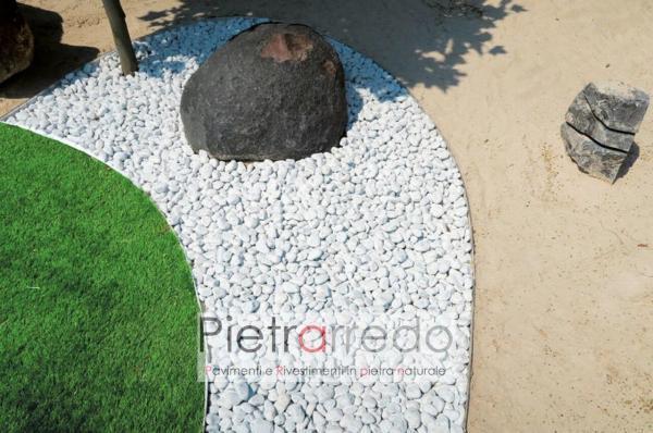 ciottolo in pietra sasso bianco per decorazioni bianco carrara prezzo stone garden design offerte pietrarredo