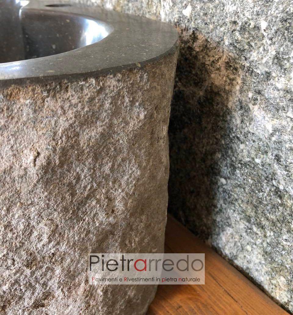 Lavandini Rustici In Pietra lavandino con attacco rubinetto in sasso di fiume scavato e fatto a mano  per arredo bagno, diametro da 40 a 50 cm
