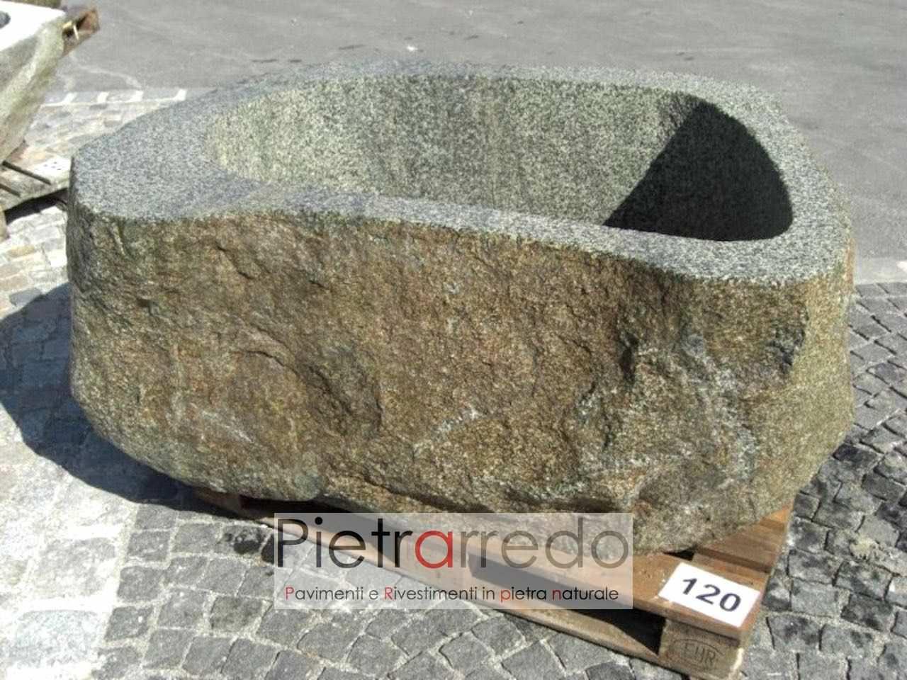 Vasche In Pietra Per Fontane vasche in pietra grezza, sassi di fiume giganti tagliati e scavati a mano