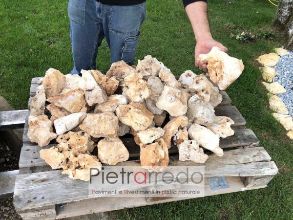 pietra ornamentale per prati e aiuole pezzatura media sassi porosi per dislivelli prato pietrarredo prezzo milano