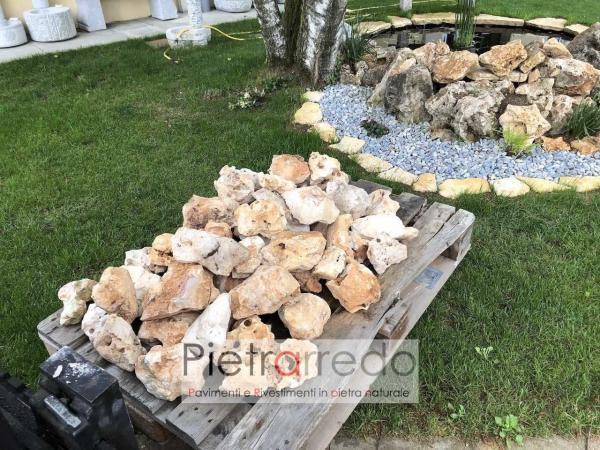 pietrarredo stone garden beige roccioso con buchi per decorazioni aiuole sasso