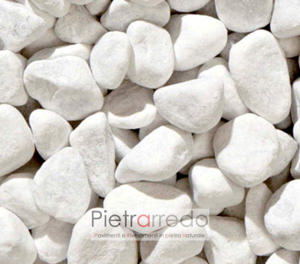 prezzo ciottolo 15mm 25mm piccolo bianco carrara offerta stone garden pietrarredo giardini zen giapponesi pietra