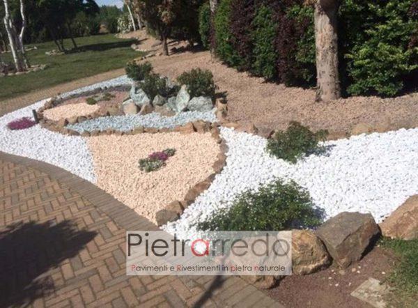 prezzo ciottolo saso sassolino bianco carrara kg 15mm 25mm decorazioni giardino aiuole pietrarredo