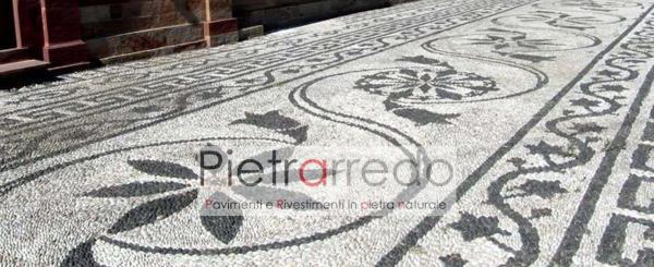 rizzata con ciottolo bianco e nero ville storiche pavimento sassolini visconti borromeo prezzo pavimento costi pietraredo milano