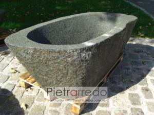 vasca gigante da giardino in sasso scavato pietra lavandino vasca da bagno prezzo pietrarredo milano costo