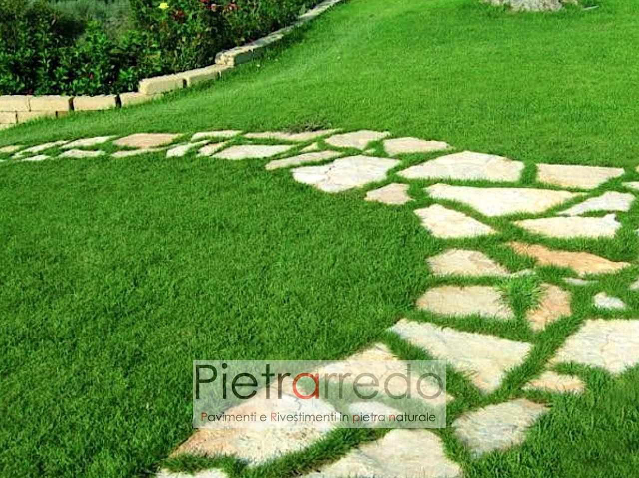 offerta prezzo vialetto camminamento passaggio su prato pietra naturale antiqua pietrarredo milano scorza di trani gigante
