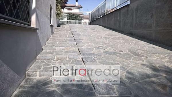 costi pavimentazione esterna cortile scivolo pietra naturale luserna prezzo costi blu grigio pietrarredo