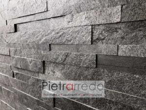 multilistelli per pareti da rivestire in sasso pietra naturale silver grey pietrarredo milano muri stone strips price costi offerta