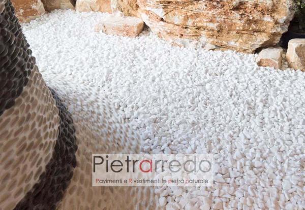 offerta e prezzi ciottolo per arredo giardino stone garden bianco puro pulito brillante thassos pietrarredo prezzo milano costi