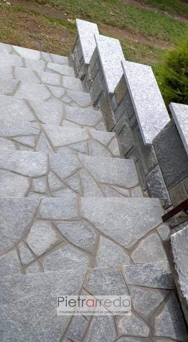 scala elegante in pietra luserna blu grigio prezzo ingresso vialetto villa pietrarredo milano costi