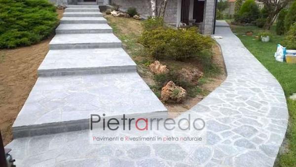 viale ingresso pavimento pietra luserna offerta costo prezzo pietrarredo milano blu grigio