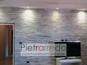 facciata parete rivestita con listelli in pietra grigia ghiaccio slim sottili brillantinati pietrarredo milano costo