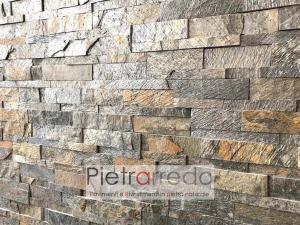 pannelli in pietra a scaglie sasso indiano metallizzato grigio biege pietrarredo milano costi