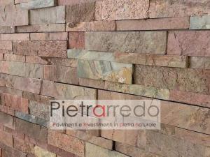 parete in pietra naturale rame ramato rosso metallizzato metallo copper pietrarredo milano costo offerta facciata in sasso