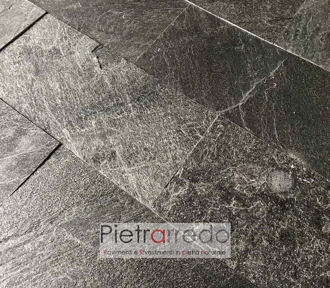 pavimento in pietra naturale piastrella 30x60cm oferta prezzo grigio nero brillantinata pietrarredo milano silver grey indiamn