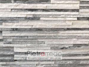 placche decorative in pietra per muri e facciate colore ghiaccio grigio bianco listelli piccoli pietraredo milano prezzo offerta