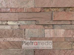 rivestimento in pietra copper ramato listelli metallizzati metallo corten ramato prezzo pietrarredo parete e facciata costo
