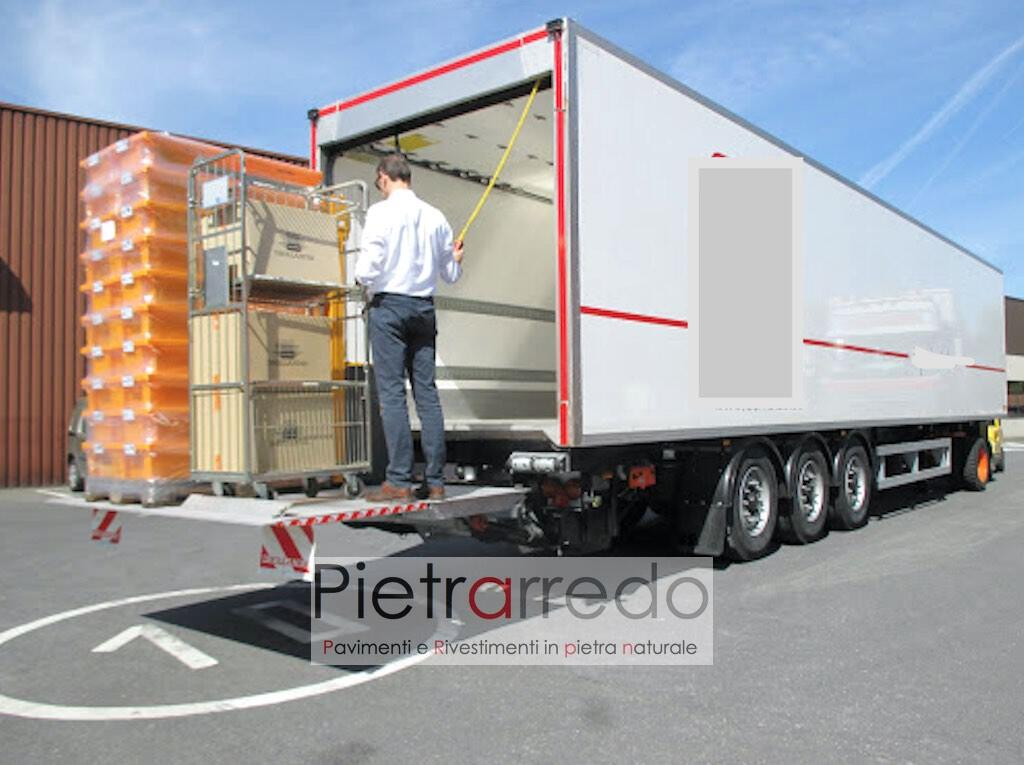 scarico con sponda idraulica camion pietrarredo milano consegne pietra naturale prezzo