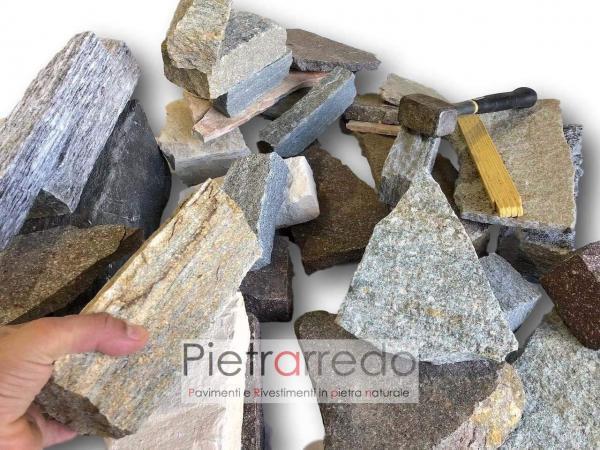 blocchi in sasso a spacco naturale faccia a vista muro a secco pietrarredo milano prezzo muro facciate