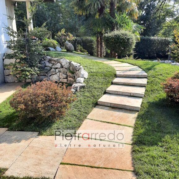 lastre mattonelòle da giardino camminamento arenaria gialla india pietrarredo prezzo pavimento prato