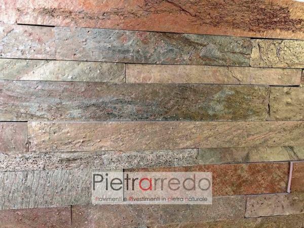 liste in pietra singole da rivestimeto pietrarredo copper rame rosso metallizzato prezzo costi pietrarredo milano