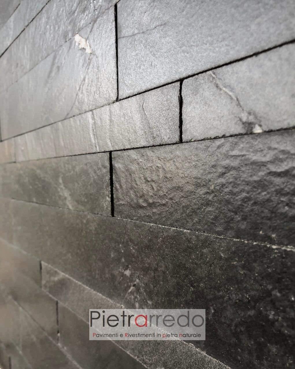 muretti in petra a listelli singoli colore nero nera quarzite lucida impermeabile sasso pietrarredo milano prezzo