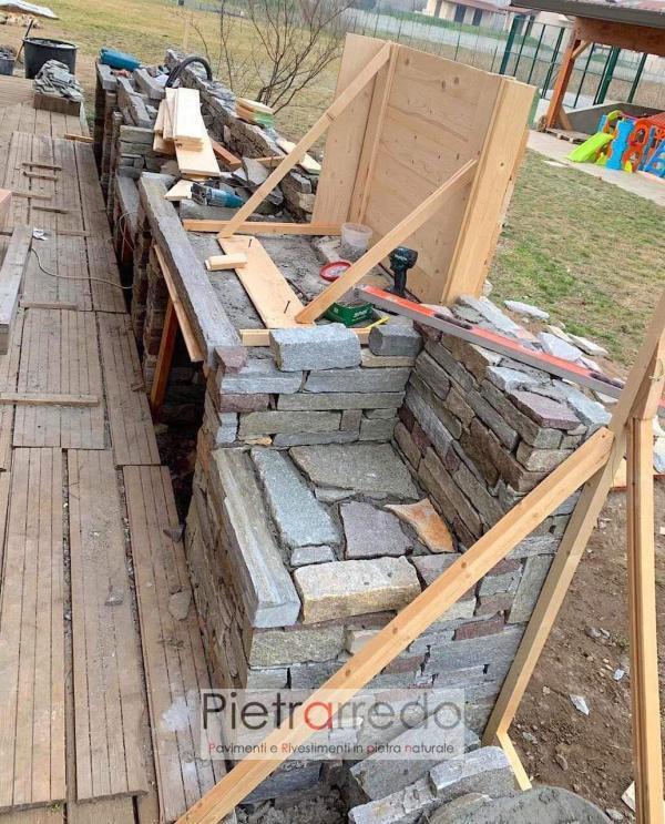 offerta e prezzo muro a secco in pietra naturale pietrarredo milano blocchi grezzi masselli in sasso costo parete facciata barbeque