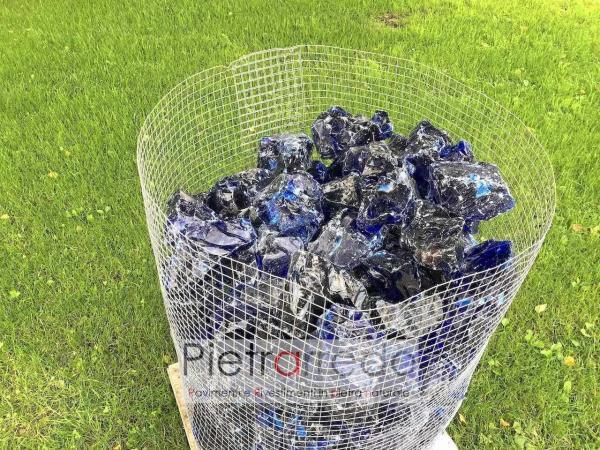 offerta granulati in vetro decorativo colore blu pietrarredo milano aiuole deco stone garden zen giapponesi