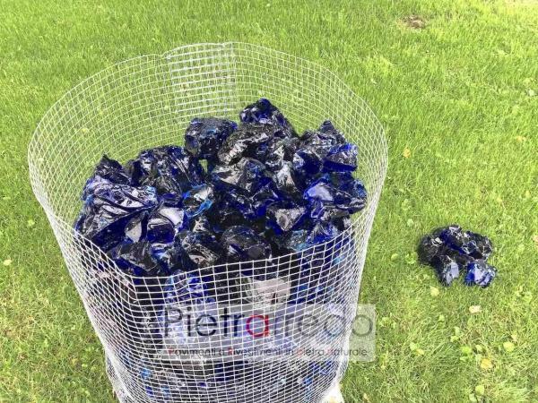 offerta pietra e vetro decorativo per giardino aiuole prati blu oltremare zandobbio stne garden costo offerta