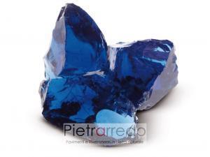 offerta prezzo vetro da giardino decorativo per prati e aiuole blu oltremare cobalto gravels zandobbio pietra