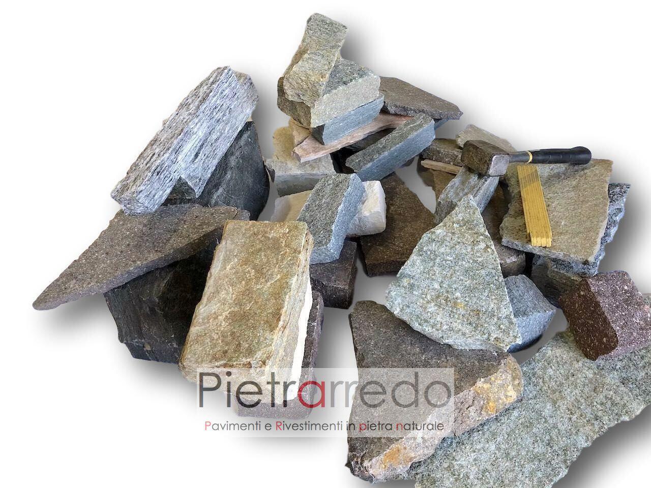 offerta rivestimento in pietra naturale a secco blocchi grezzi binderi masselli in sasso misto pietrarredo milano costi