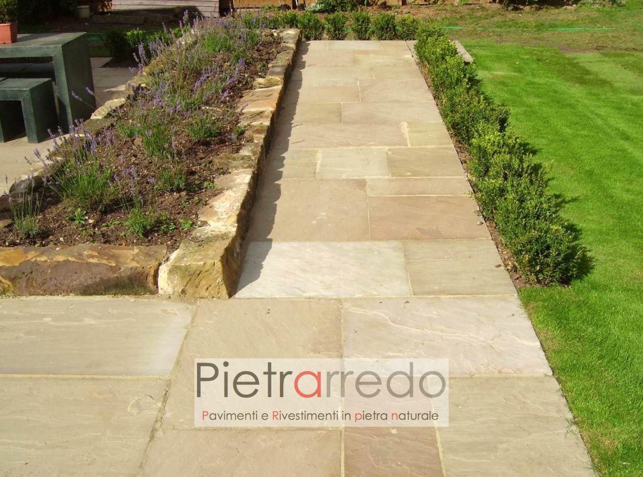 pavimento in arenaria gialla mint pietra sandstone yellow indiamn prezzo costo pietrarredo milano